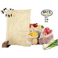 WooWell Bolsas de vegetales reutilizables de algodón , bolsas de frutas y vegetales, bolsas de malla transpirables, hermosas bolsas de algodón natural, 6 piezas - 2x S, 2x M, 2x L, ecológicas, hacen que nuestro hogar ¡más hermoso, deja que tus compras estén más de moda!
