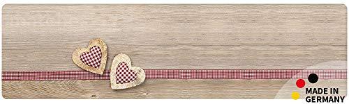 matches21 Küchenläufer Teppichläufer Teppich Läufer Landhaus Holzbrett mit Herzen 50x180x0,4 cm maschinenwaschbar