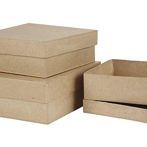 Quadratische Boxen, Größe 16+18+20 cm, 3asstd