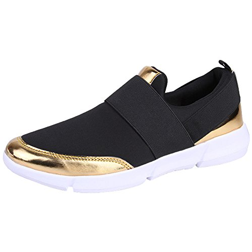 wealsex Basket Basses Sans Lacets Léger Sneakers Respirant Casuel Confortable Chaussure de Sport Running Voyage Femme 35-42