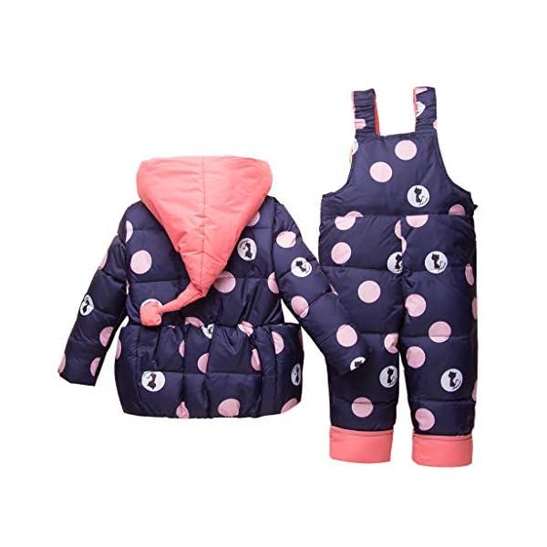 Bebé Invierno 3 Piezas Trajes de Nieve Capucha Plumón Chaqueta + Pantalones y Monos para La Nieve + Bufanda Niños Niñas… 2