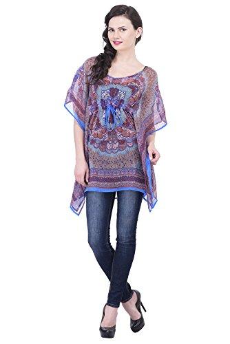 Trendif Blue N Multicolor Poly Chiffon Digital Print Beach Wear/Kaftan