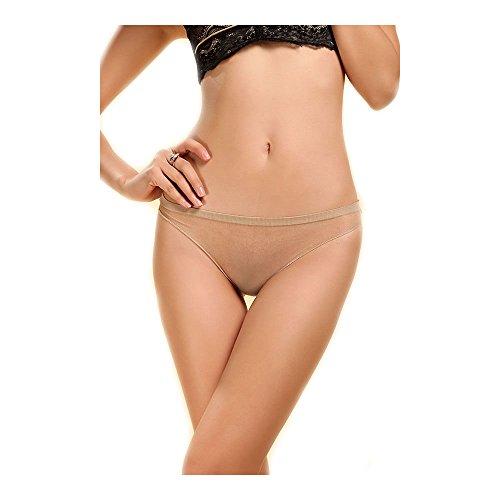 5 D Seamless Frauen Schiere Sexy sehen durch die Unterwäsche Tanga Beige