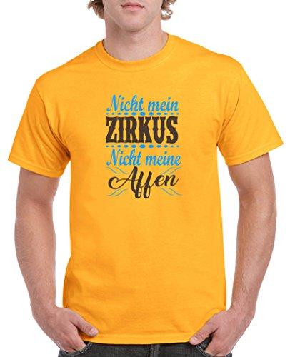 Comedy Shirts - Nicht mein Zirkus, Nicht Meine Affen - Herren T-Shirt - Gelb/Blau-Braun Gr. L