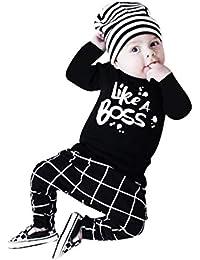 K-youth Ropa Bebe Niño Otoño Invierno Infantil Recien Nacido Bebé Niña Camisas de Manga Larga Blusas Bebé Letra Tops + Enrejado Pantalone + Sombrero Trajes Conjuntos 0-24 Mes