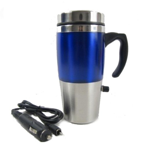 12v AUTO USB STAINLESS STEEL HEATED TRAVEL MUG FLASK WITH CAR /& USB CHARGER In