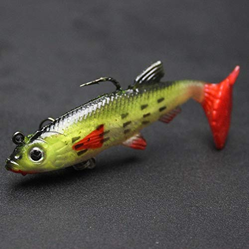 Soft Lead Fish Fishing Bait Lures With 2 Hooks(Yellow with red)