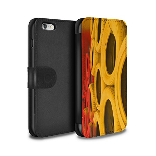 Stuff4 Coque/Etui/Housse Cuir PU Case/Cover pour Apple iPhone 6 / Apex/Chicane Design / Piste Course Photo Collection Pneus/Barrière