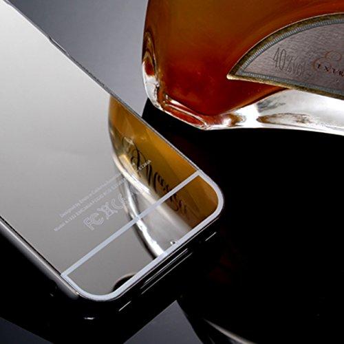 iPhone 4 4S Étui Miroir Coque, Vandot Luxe Reflet Miroir Étui pour iPhone 4 4S Détachable Housse Aluminium Métallique Frame Bumper et Dur PC Plastique Arrière Case Hull Shell Protection Complète Absor Miroir-Noir