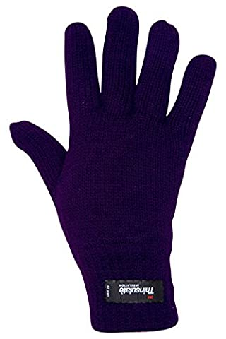 Mountain Warehouse Thinsulate Women's Knitted Gloves - Knitted Effect & Double Lined with Thinsulate Material - Keeps cold air out and traps warmth between the layers Purple