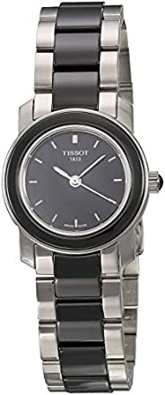Tissot Women's Black Dial Color Metal & Ceramic Band Watch - T064.210.22.051.00, Silver&Black Band
