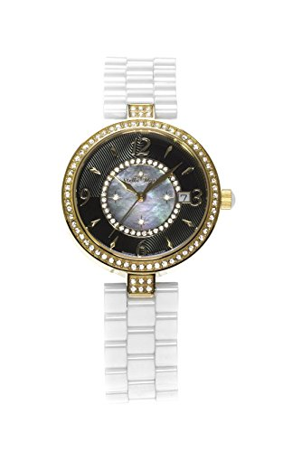 Stella Maris Damen Armbanduhr - Analog Quarz - Premium Keramik Armband - Perlmutt Zifferblatt - Diamanten und Swarovski Elemente - STM15SM11
