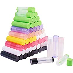 PandaHall Elite 90 Pcs DIY Botella Vacía para Lápiz Labial, Tubo Brillo Labial, Tubo Protector Labial, con Tapa, Color Mezclado, 67x15~16.6mm