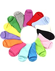 WINOMO 12 paires de chaussettes en coton pour femmes filles chaussettes en coton de couleur bonbon solide