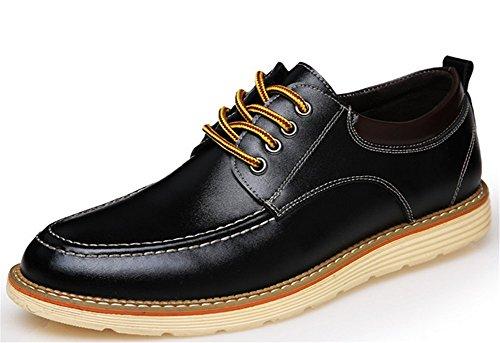 Wealsex Chaussures Bateau homme Chaussures de ville à Lacet Chaussure Basse Cuir Casual Homme Noir