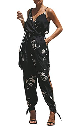 ECOWISH Damen Jumpsuit V Ausschnitt Overall Blumen Ärmellos Playsuit Split Hosenanzug Romper Frühling Sommer 033 Schwarz XL -