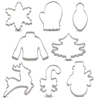 KENIAO Christmas Cookie Cutter Set - 9 Piece - Christmas Tree, Snowman, Snowflake, Gingerbread Man, Reindeer, Candy Cane, Ugly Sweater, Light Bulb and Mitten Biscuit Fondant Cutters - Stainless Steel