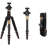 Andoer Q666C Pro - Trípode de fibra de carbón profesional para cámara SLR (con rótula cambiable portátil)