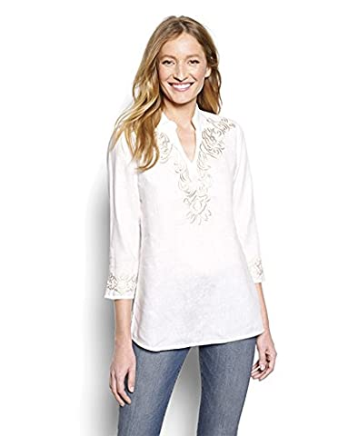 Orvis Embroidered Cross-dyed Linen Popover Tunic, White, X Small