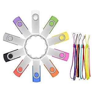 USB Sticks 4GB 10 Stück - FEBNISCTE Speicherstick 4 GB Rotate Metall USB2.0 Flash Drive - Mehrfarbige