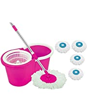 DAIVE's Mop Floor Cleaner with Bucket Set Offer with Big Wheels for Best 360 Degree Easy Magic Cleaning, Pink with 4 Microfiber