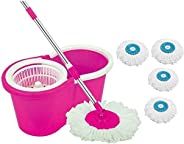 DAIVE ABI CLEANING SOLUTIONS Plastic 360° Spin Floor Bucket PVC Mop with 4 Microfiber Refill with Wheels (Pink