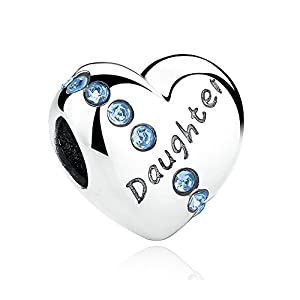 """Charm Anhänger in Herzform mit Aufschrift """"Daughter"""",925erSterling-Silber,für Pandora, Biagi & Troll etc."""