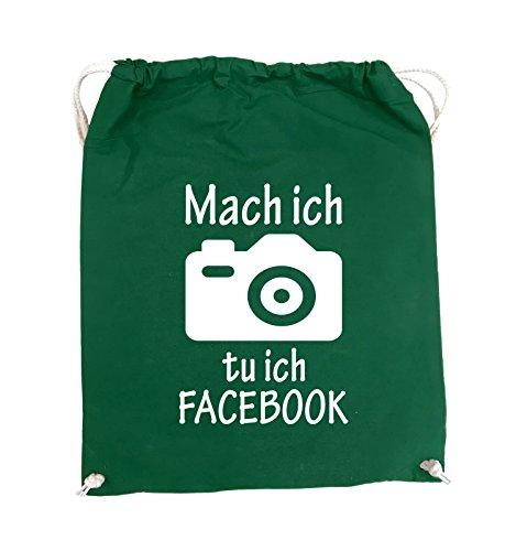 Comedy Bags - Mach Foto ich tu ich FACEBOOK - KAMERA - Turnbeutel - 37x46cm - Farbe: Schwarz / Pink Grün / Weiss
