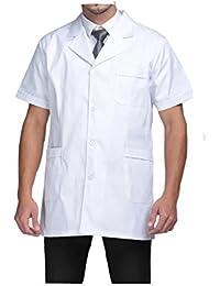 WDF bata de laboratorio médicos bata uniforme de trabajo enfermera blanco hombres manga corta corto párrafo