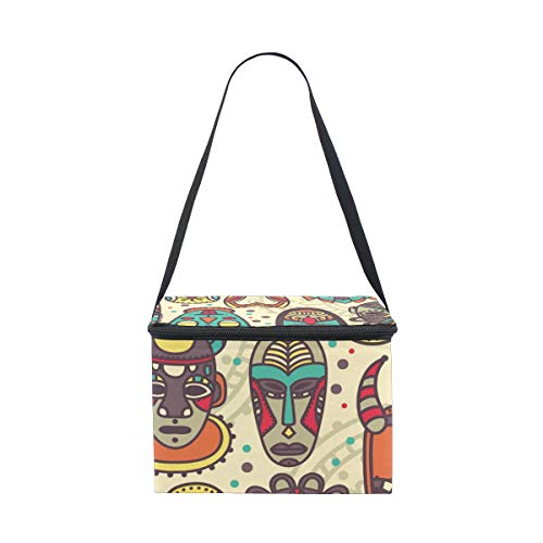Bolsa de almuerzo Vintage Tribal máscara colorida étnico Cooler para Picnic hombro...