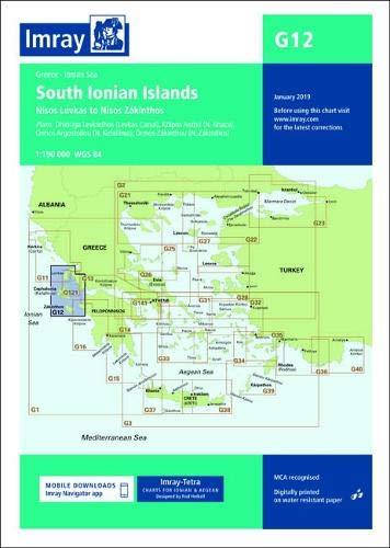 Imray chart G12: South Ionian Islands Nisos Levkas to Nisos Zakinthos (G Charts, Band 12) (Imray Charts)