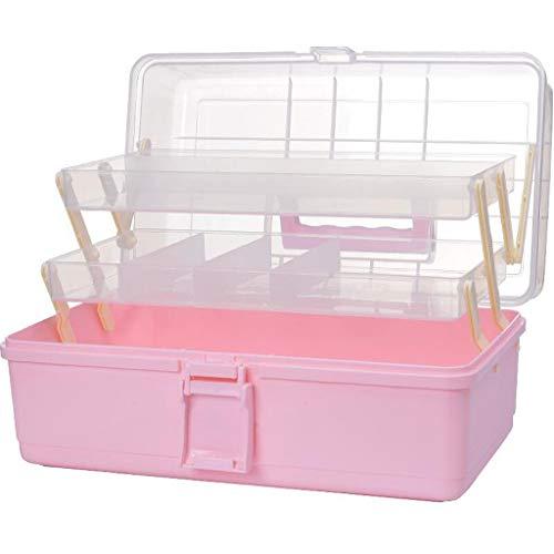 WYJW Kosmetische Organisatoren Haushaltskunststoff-Medizinbox Medikamenten-Aufbewahrungsbox Medikamenten-Aufbewahrungsbox Mehrschicht-Medizinbox Familien-Medizinschrank (Farbe: ROSA) -
