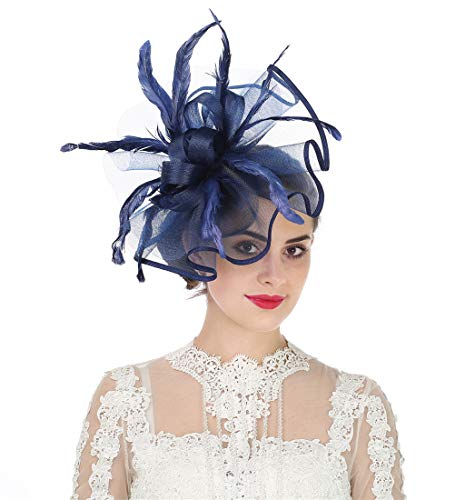 Lucky Leaf Damen Fascinator Haarspange Haarspange Hut Feder Cocktail Hochzeit Tee Party Hut und Haarband für Frauen Gr. 85, 5-feather Navy -