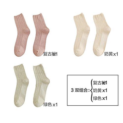 Lagerhaus Socken girls day im Herbst und Winter, dicke Baumwolle Socken im Mobilteil retro Sen ist eine feste Farbe lange-barrel socks Summe aus Japan, sind Code und Sepia Toner + Karte seine + Licht Grün 3-er Pack