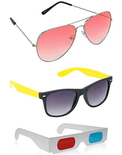 HRINKAR Aviator Sunglasses + Wayfarer Sunglasses + 3D GLASSES - SUN2053