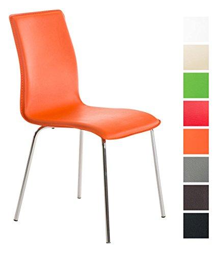 CLP Silla para Visitas Nicki con Soporte Metálico de Aspecto Cromado Brillante | Silla de Conferencias Tapizada en Cuero Sintético | Silla de Cocina con 4 Patas | Color Naranja