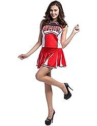 ourlove la moda mujer High School Musical Cheerio Classic animadora Athletic deporte uniforme disfraz, atlético, color rojo, tamaño UK 10/12