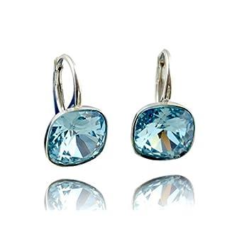Crystals & Stones *Viele Farben* Silber 925 *SQUARE* - Ohrringe mit Kristallen von Swarovski® - Schön Ohrringe Damen Ohrhänger - Wunderbare Ohrringe mit Schmuckbox (Aquamarine)