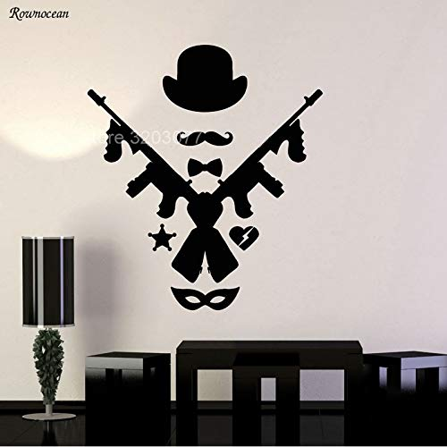 guijiumai Mafia Art Chicago Stil Hut Tommy Gun Maske Wandaufkleber Vinyl Dekoration Wandbild Abnehmbare Selbstklebende Wandtattoos rot L 57x64 cm