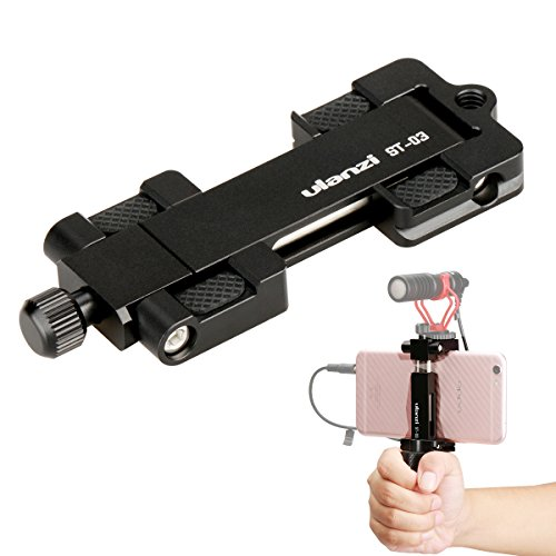Ulanzi ST-03 Phone Clip Metal Smartphone Tripod Mount Adapter with Cold Shoe Mount Meet Arca Swiss Quick Release Plate for iPhone Samsung HuaWei Cell Phone Tripod Holder (ST-03 Black) (Swiss Arca Quick-release-adapter)