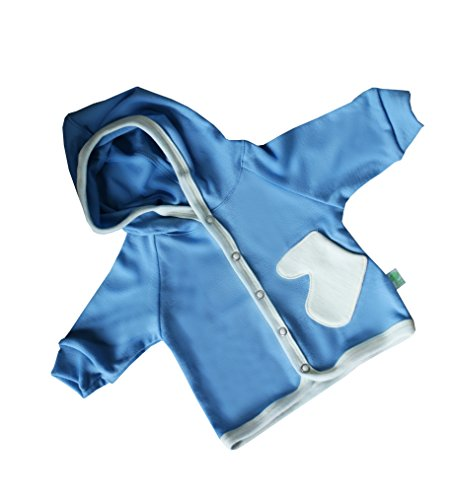 GREEN ROSE Baby Hooded Sweatshirt Aus Natürlich Merino Wolle (56/62 cm 0-3 Monate, Hellblau) (Merino Pullover Waschen Wolle)