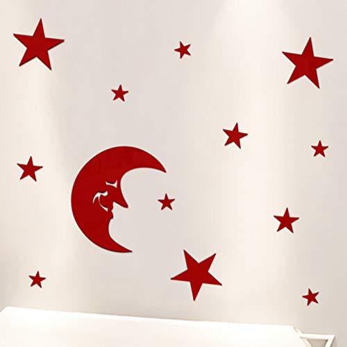3D Wandaufkleber Wandtattoo Selbstklebend Sternförmiger Spiegelwandaufkleber Stereo- Acryl-Fernsehhintergrund, Plattenrot, Groß Stereo-wall Plate