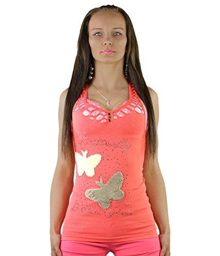 Yaxina - Canotta - Gilet Top - Basic -  donna Coral