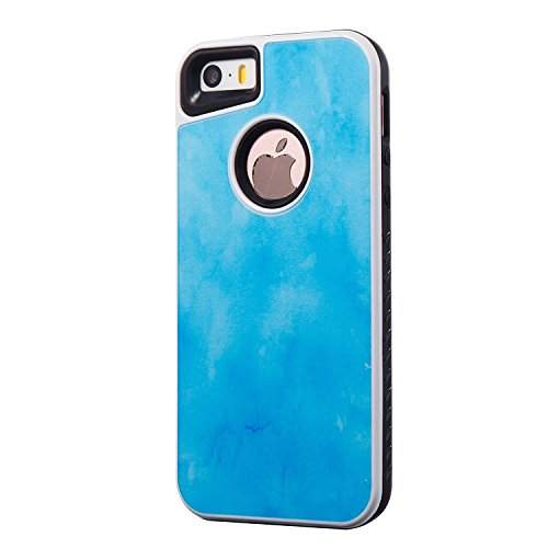 EKINHUI Case Cover Dual Layer Scrub Marmor Stein Bild Muster PC + TPU Fall Deckung Shell für iPhone 5s & SE & 5 ( Color : E ) E