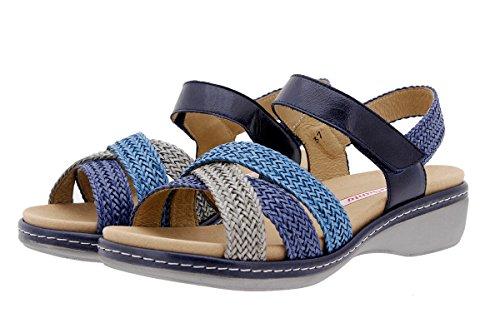 Chaussure femme confort en cuir Piesanto 1809 sandales à semelle amovible confortables amples Gris-Azul-Turquesa