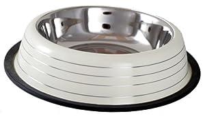 Buckingham Striped Dog Bowl Cream (64oz) by BIIA4