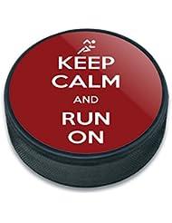 Puck de hockey sur glace et inscription Keep Calm and p-y
