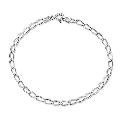 925 Sterling Silver 3.1 mm Diamond Cut Oval Cable Charm Bracelet Chain Size: 7.5 8 inch / 19 20 cm (8inch/20cm)
