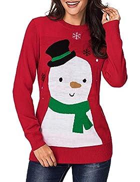[Patrocinado]Romacci Mujeres Suéter de Navidad Muñeco de Nieve Ciervo Impresión Manga Larga Puente Otoño Invierno Jersey Prendas...