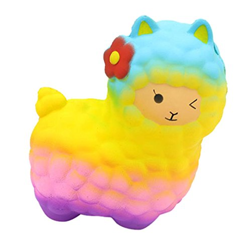Galleria fotografica decompressione giocattoli, Beikoard Newest creative Jumbo pecore Squishy cute alpaca super Slow rising profumata Fun Animal Toys stress Toy bomboniere Toy Gift telefono cellulare ciondolo cinghia regalo